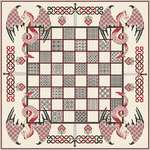 Click for more details of Chessboard with Red Dragons (cross stitch) by DoodleCraft Design