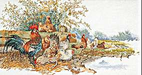 Click for more details of Chickens (cross stitch) by Thea Gouverneur