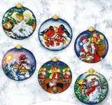 Click for more details of Christmas Balls - Set of Six (cross stitch) by Andriana