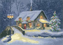 Click for more details of Christmas Cottage (cross stitch) by John Clayton