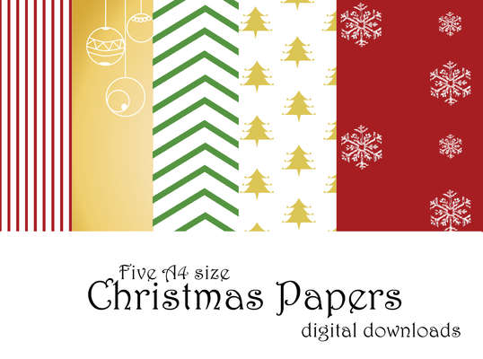 Click for more details of Christmas Digital Papers (Five A4 size Digital Downloads) (digital downloads) by Julie Lynes