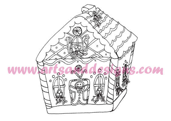 Click for more details of Christmas Gingerbread House Digital Stamp (digital downloads) by Julie Lynes