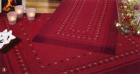 Click for more details of Christmas Hardanger table covers - small stars on red (hardanger kit) by Rico Design