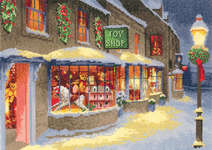 Click for more details of Christmas Toy Shop (cross stitch) by John Clayton