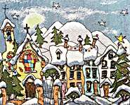 Click for more details of Christmas Village (cross stitch) by Michael Powell