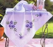 Click for more details of Clematis Table Cover (embroidery) by Deco-Line