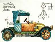 Click for more details of Clockwork Vehicle (cross stitch) by Panna