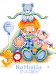 Click for more details of Clown Birth Sampler (cross-stitch kit) by Maria van Scharrenburg