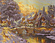Click for more details of Cobblestone Christmas (cross-stitch kit) by Thomas Kinkade