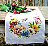 Click for more details of Colourful Flowers Table Runner (cross stitch) by Vervaco