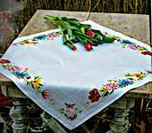 Click for more details of Colourful Flowers Tablecloth (cross stitch) by Vervaco