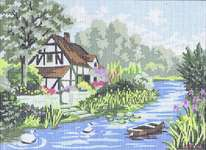 Click for more details of Cottage by a Stream (tapestry) by Grafitec