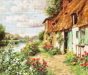 Click for more details of Cottage Landscape (cross stitch) by Luca - S