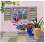 Click for more details of Courtyard Window (long-stitch) by Rose Swalwell