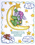 Click for more details of Crescent Moon Birth Announcement (cross stitch) by Janlynn