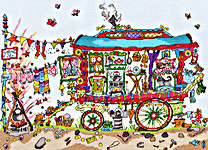 Click for more details of Cut Thru' Gypsy Wagon (cross-stitch kit) by Bothy Threads