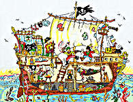 Click for more details of Cut Thru' Pirate Ship (cross stitch) by Bothy Threads