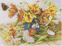 Click for more details of Daffodils and Tulips (cross-stitch kit) by Marjolein Bastin