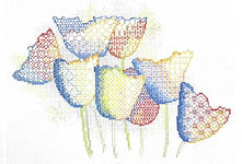 Click for more details of Dancing Tulips (blackwork) by Rose Swalwell