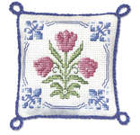 Click for more details of Delft Tulips Pincushion (cross stitch) by Textile Heritage