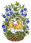 Click for more details of Easter Chickens and Eggs in a Basket (cross stitch) by Eva Rosenstand