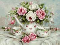 Click for more details of English Tea and Roses (cross stitch) by Luca - S