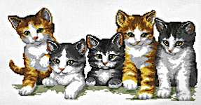 Click for more details of Family of Kittens (cross-stitch kit) by Vervaco