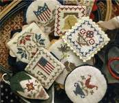 Click for more details of Festive Little Fobs - Americana Edition (cross stitch) by Heartstring Samplery