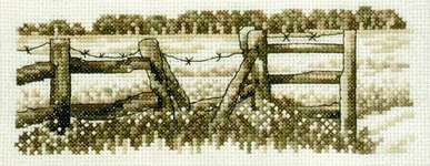 Field Fence in Sepia