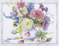 Click for more details of Flowers in a White Pot (cross stitch) by Marjolein Bastin