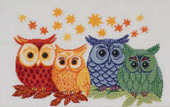 Click for more details of Four Owls (cross stitch) by Permin of Copenhagen