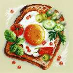 Click for more details of Fried Eggs Toast (cross stitch) by Magic Needle