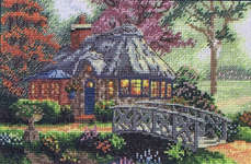 Click for more details of Friendship Cottage (cross-stitch kit) by Thomas Kinkade