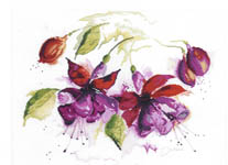 Click for more details of Fuchsia in Watercolour (cross-stitch kit) by Lanarte