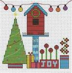 Click for more details of Funky Christmas Birdhouse (cross stitch) by Fat Cat Cross Stitch