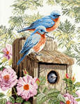 Click for more details of Garden Blue Birds (cross-stitch kit) by Lanarte