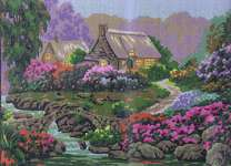 Click for more details of Garden by the Old Stone Bridge (tapestry) by Grafitec