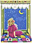 Click for more details of Girl looking at Stars (cross-stitch kit) by Eva Rosenstand