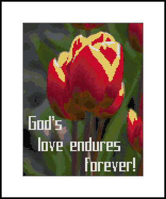 Click for more details of God's Love Endures Tulip Sampler (cross-stitch pattern) by Mary Gaines