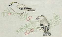 Click for more details of Goldcrests (blackwork) by Anne Peden