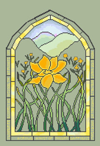 Click for more details of Golden Daffodil Window (cross stitch) by Anne Peden