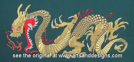 Click for more details of Golden Dragon (embroidery) by Anne Peden