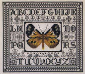 Click for more details of Golden Watercolor Butterfly (blackwork) by Rosewood Manor