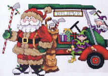 Click for more details of Golf Cart Santa (cross stitch) by Stoney Creek