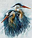 Click for more details of Great Blue Herons (cross stitch) by Lanarte