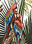 Click for more details of Green Winged Macaws (cross-stitch kit) by Lanarte