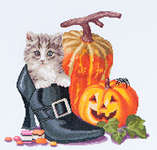 Click for more details of Halloween Kitten (cross stitch) by Thea Gouverneur