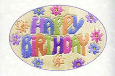 Click for more details of Happy Birthday Greeting Card (long-stitch) by Rose Swalwell