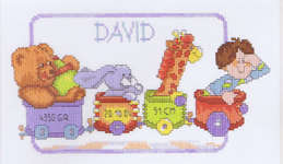 Click for more details of Happy Birthday Train David (cross-stitch kit) by Lanarte