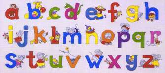 Click for more details of Happy Friends Animal Alphabet Sampler (cross-stitch kit) by Permin of Copenhagen